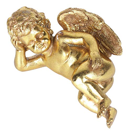 Z PLINRISE Sleeping Baby Angel Stone Statue, Lovely Garden Cherub Figurine with Wings, Decorative Sculpture for Home&Office,Gold (Lying on Side)