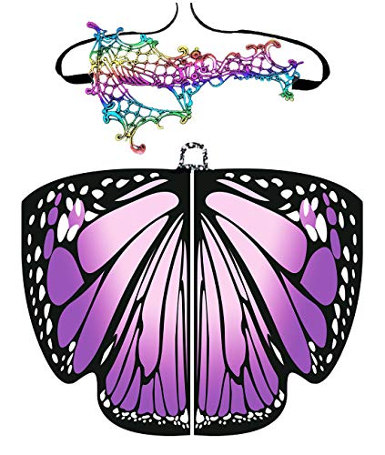 Halloween/Party Prop Soft Fabric Butterfly Wings Shawl Fairy Ladies Nymph Pixie Costume Accessory (168x135CM, Purple)