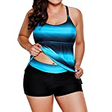 VIASA_ Women Swimsuits Plus Size Bikini Sets Stripe Pachwork Colour Sling Bathing Beachwear (Blue, 2XL)
