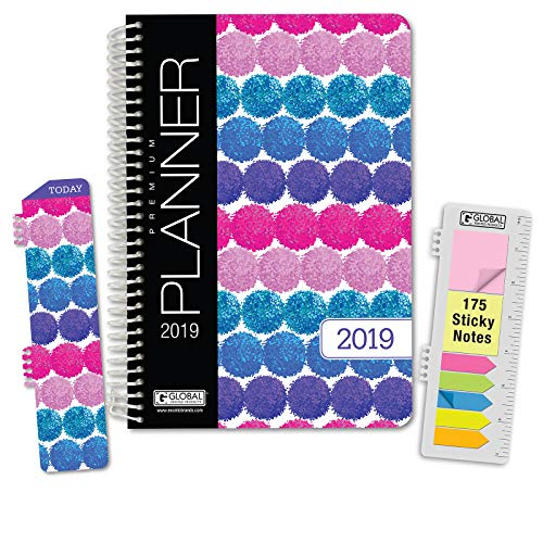 HARDCOVER Calendar Year 2019 Planner: (November 2018 Through December 2019) 5.5x8 Daily Weekly Monthly Planner Yearly Agenda. Bonus Bookmark, Pocket Folder and Sticky Note Set (Pompoms)