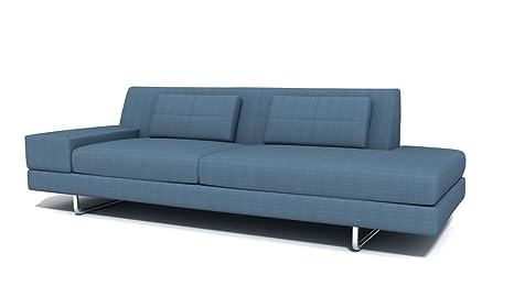 Amazon Com Truemodern Hamlin One Arm Fabric Sofa With Chaise Metal