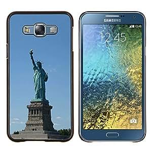 Caucho caso de Shell duro de la cubierta de accesorios de protección BY RAYDREAMMM - Samsung Galaxy E7 E700 - Arquitectura Estatua de la Libertad