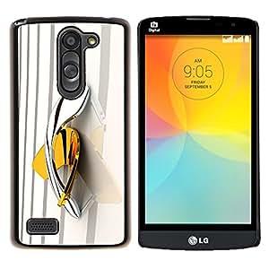 YiPhone /// Prima de resorte delgada de la cubierta del caso de Shell Armor - amarilla boomerang bling del platino de oro - LG L Prime D337 / L Bello D337