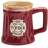 Fireman 15 Oz Porcelain Coffee Mug/Cup Burgundy Stein Shape with Fire Department Crest
