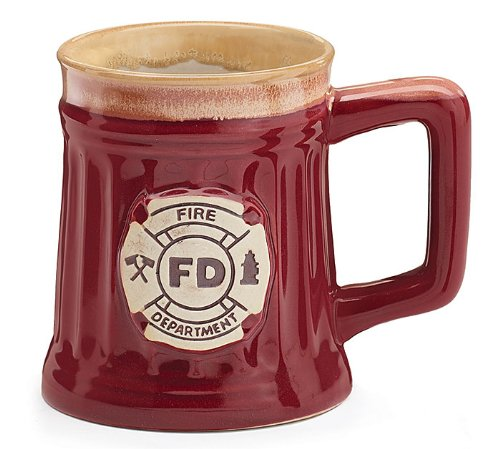 (Fireman 15 Oz Porcelain Coffee Mug/Cup Burgundy Stein Shape with Fire Department Crest)