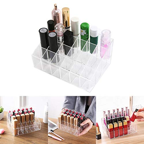 (Zouvo 24 Grid Transparent Trapezoidal Nail Polish Lipstick Cosmetic Display Stand Cosmetic Display Cases)