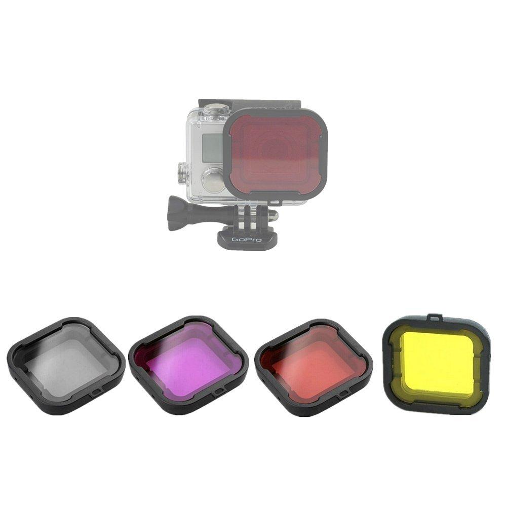 Hensych® 4pcs Filtros de Buceo caso de vivienda de la cámara para Gopro Hero 3 + 4 Underwater Lens convertidor GPR-DV-FLT