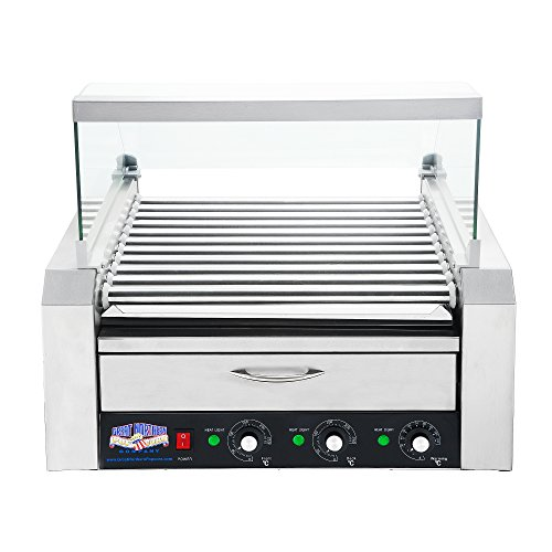 Great Northern Popcorn Company Great Northern Popcorn Commercial 11 Roller Grilling Machine and Bun Warming Tray | Includes Cover | Holds 30 Hot Dogs, 83-DT5546