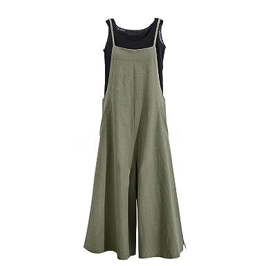 d2cb31e0a0f Amazon.com  Hulaha Womens Cotton Plus Size Overalls Baggy Bibs Jumpsuits  2XL  Clothing