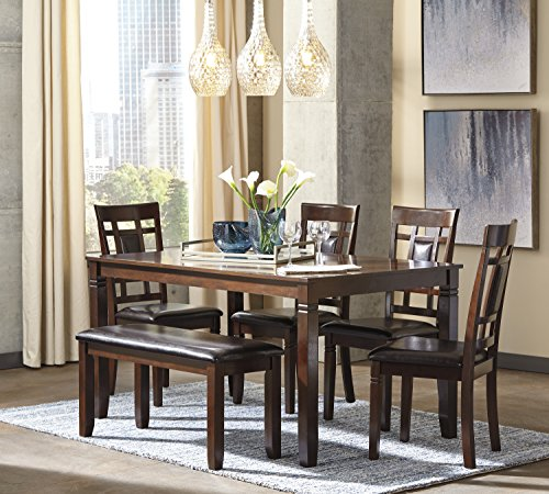 6 PC Barnnox Casual Brown Color Dining Room Table Set, Table, 4 Chairs, Bench