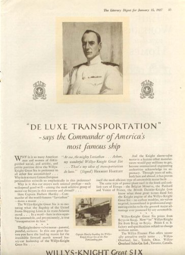 De Luxe Transportation Willys Knight Great Six Ad 1927