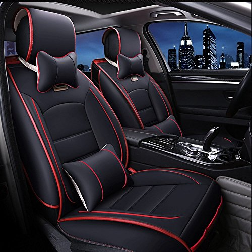 Danti Universal 10PCS Full Set Needlework PU leather Front and Rear Car Seat Cushion Cover (Front and Rear Seats Cushion Cover/w Red Line)
