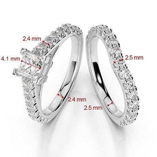 Or Rose 18carats 1CT G-H/VS sertie de diamants taille princesse de mariage Bague de fiançailles et ensemble de Agdr-2007