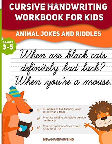 Cursive Handwriting Workbook for Kids: Animal Jokes and Riddles