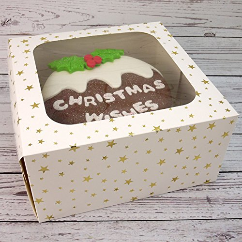 10 Inch Economy White Window Box With Gold Star Design (1) Cake Craft World