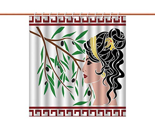 iPrint Eco-Friendly Shower Curtain [ Toga Party,Mythological Aphrodite Profile and Olive Branch Greek Borders Framework Print,Multicolor ] Polyester Fabric Bathroom Curtain Ideas