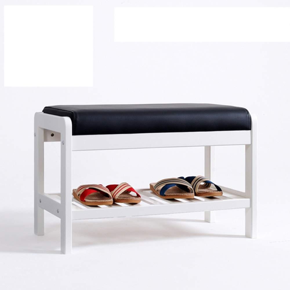 EIDUOシューズラック 靴ラック、ソリッドウッド、靴ベンチ、ホールスツール、ソフトレザー模造レザーシートシューズラック、白、バーチ、3サイズ 自宅に適しています (サイズ さいず : 65 * 34 * 42cm) B016PWIB6G  65*34*42cm
