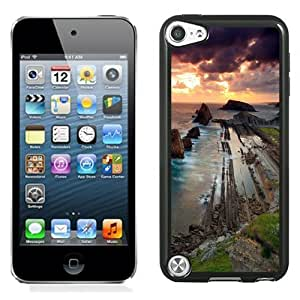 NEW Unique Custom Designed iPod Touch 5 Phone Case With Old Stones Waterfront Barrage Sunset_Black Phone Case