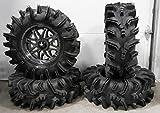 Bundle - 9 Items: MSA Dark Tint Vibe 14'' ATV Wheels 29.5'' Terminator Tires [4x156 Bolt Pattern 12mmx1.5 Lug Kit]