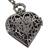 REATR Retro Pocket Watch Hollow Out Heart Shape Pendant Necklace Quartz Watch with Gift Chain