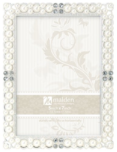 - Malden International Designs Sebring Silver Pearls Picture Frame, 5x7, Silver