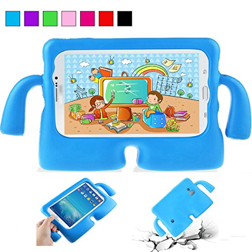 YooNow Samsung Galaxy Tab 3 7.0 Case Kids Tab 3 Lite Tab E Lite Case Lightweight Full Protection Case Shockproof Case Cover with Carrying Handle for Samsung Galaxy Tab 3/ 3 Lite Tablet 7 Inch (Blue) (Galaxy Tab 3 Case Handle)