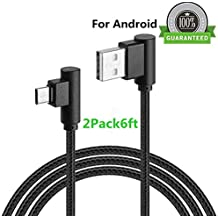 Micro USB 90 Degree Android Lightning Cable, VPR Right Angle USB to Micro USB Fast Charger Cord nylon braided for Galaxy S7/ S6/ S5/ Edge, Note 5/ 4/ 3, HTC, LG, Nexus and More (Black2Pack6ft)
