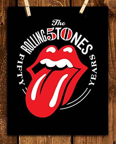 "The Rolling Stones-""50 Years""- Poster Print- 8 x 10"" Wall Print-Ready To Frame- 50 yr Anniversary-Classic Design. Home-Studio-Bar-Dorm-Man Cave Decor. Perfect to Complete Rolling Stones Collections."