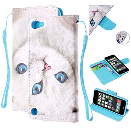 iPod Touch 5 Case, iPod Touch 6 Case, Dteck Premium Leather Wallet Case with Card Slot Holder and Hand Strap Kickstand Shockproof Cover for Apple iPod Touch 5th / 6th Generation, White Cat