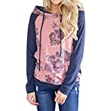 ღ Ninasill ღ Long Sleeve Floral Print Hoodie Sweatshirt Hooded Pullover Tops (XL, Pink)