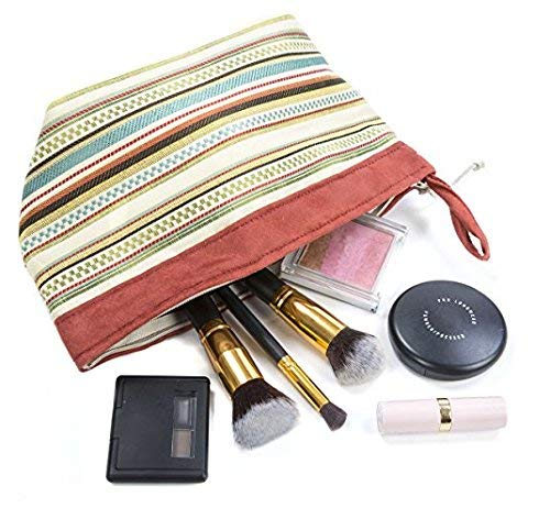 The Fitzroy Portable Cosmetic Toiletries Bag - Multicolor Stripe Pattern