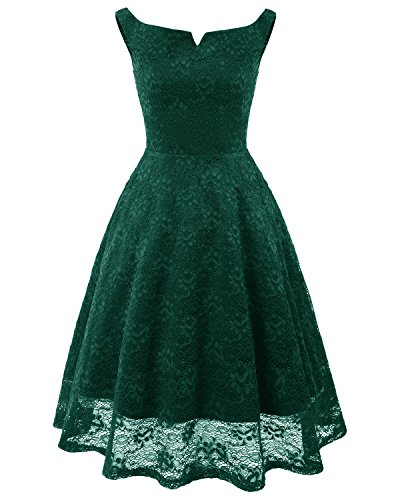 Temptme Womens Vintage Floral Lace Square Neck High Waist Sleeveless Cocktail Bridesmaid Swing Party Dress Green XL ()