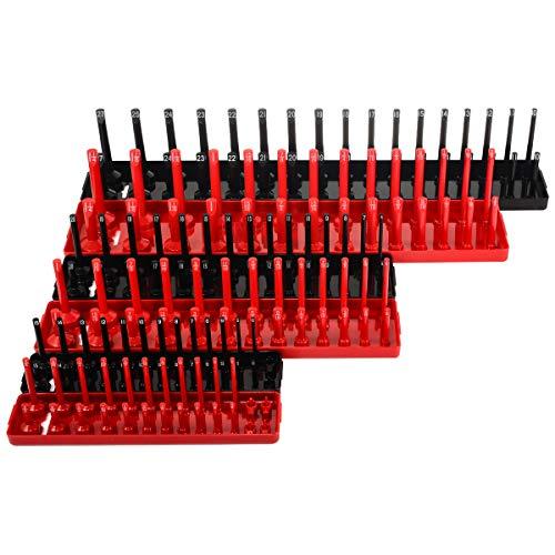 JIAIIO 6pcs Black/Red 1/4'' 3/8'' 1/2'' Metric SAE Socket Tray Rack Holder Garage Tool Organizer by JIAIIO (Image #5)