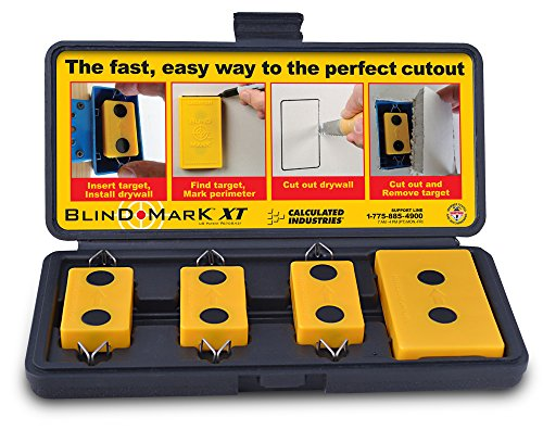 Calculated Industries 8105 Blind Mark Drywall Electrical Box Cutout Tool - Powerful Rare-Earth Magnetic Targets (3) and Locator Kit