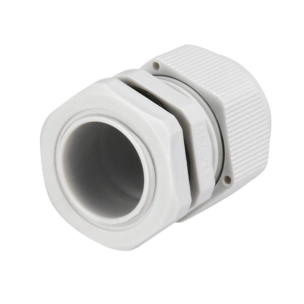 sourcing map 4Pcs M25 Presse-/étoupe plastique /étanche glande fil joint blanc 9mm-17mm Dia