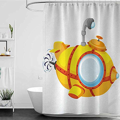 SKDSArts Shower Curtains Tumblr Yellow Submarine,Illustration of a Bathyscaphe in Cartoon Style Design Print,Pale Yellow and Orange,W60 x L72,Shower Curtain for Girls
