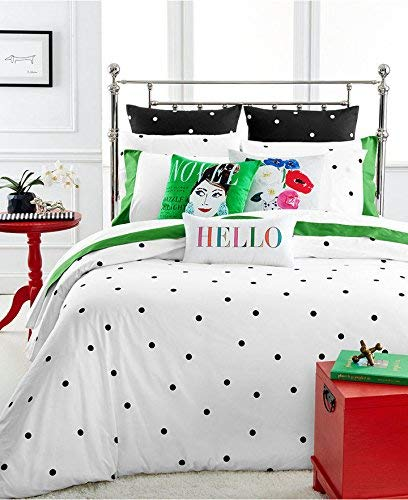 Amazon Com Kate Spade Deco Dot Twin Xl Comforter Set Black White