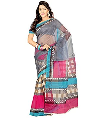 d843ccb967 Prafful Grey-Sky Blue Super Net Fashionable Printed Saree With Unstitched  Blouse Piece: Amazon.in: Clothing & Accessories