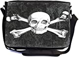 Rikki Knight Tattoo Skull on Grunge Design Multifunctional Messenger Bag - School Bag - Laptop Bag - with Padded Insert for School or Work - Includes Matching Compact Mirror