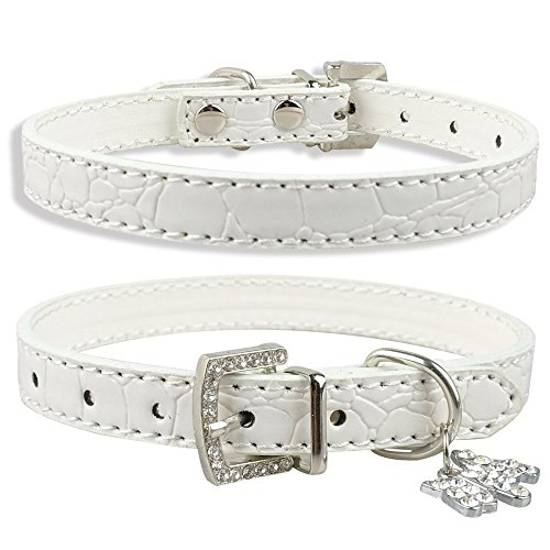 Dogs Kingdom Soft Croc Leather With Rhinestone Heart/Dog Pendant Dog Pet Puppy Collars White S