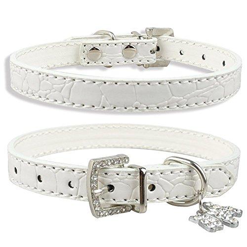 Dogs Kingdom Soft Croc Leather With Rhinestone Heart/Dog Pendant Dog Pet Puppy Collars White M ()