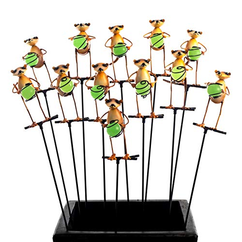 - Illumie Cuttie Stakes | 12x Glow in The Dark Pot Stake Assortment | Hand Painted for Indoor & Outdoor Use Garden Décor Yard Metallic (12x Meerkat Stakes)