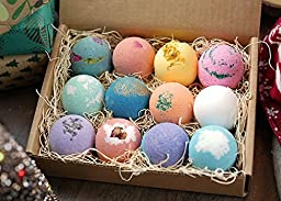 LifeAround2Angels Bath Bombs Gift Set 12 USA made Fizzies, Shea & Coco Butter Dry Skin Moisturize, Spa Kit Bath w/ pearls & flakes. Handmade Birthday Gift For Her, women gift sets, Mothers day gifts