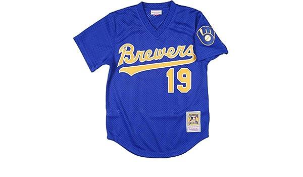 97f56b9b Amazon.com : Mitchell and Ness Robin Yount Mesh BP Jersey in Royal :  Baseball And Softball Jerseys : Clothing