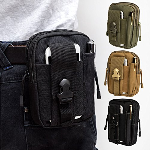 Waist Pouch Utility Pack (Krisvie Tactical Molle EDC Pouch Compact 1000D Multipurpose Utility Gadget Belt Waist Bag with Cell Phone Holster (Black))