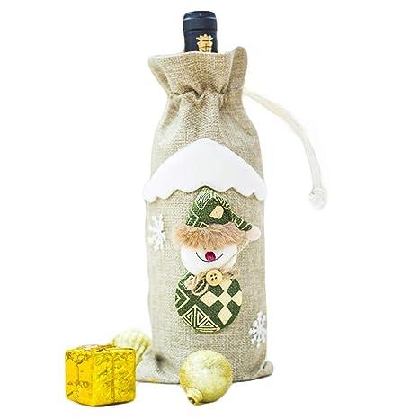 Fortunings JDS Navidad de Dibujos Animados Champagne Vino Botella Lazo Lazo Fiesta decoración