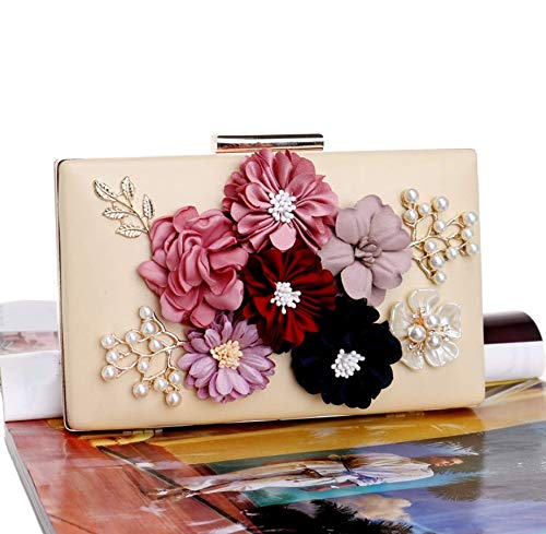 Beaded Wedding PU YANXH Pearls Handbags Purses Bags Prom Women Evening Fashion Yellow Clutches Leather Cocktail Party Flower P1qpX1wZ