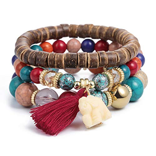 Beaded Elephant - SINOBI 3 Wrap Bracelets for Women Boho Multicolor Stretch Beaded Stackable Bracelets Wood Elephant Charm Bangle