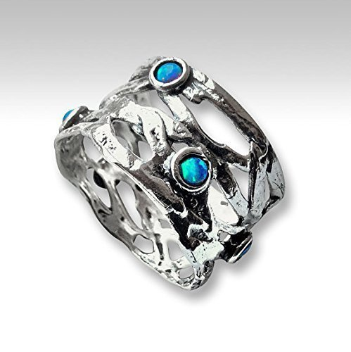 925 Sterling silver opals ring Tribal ring Wide silver band (Opal Wide Band Ring)