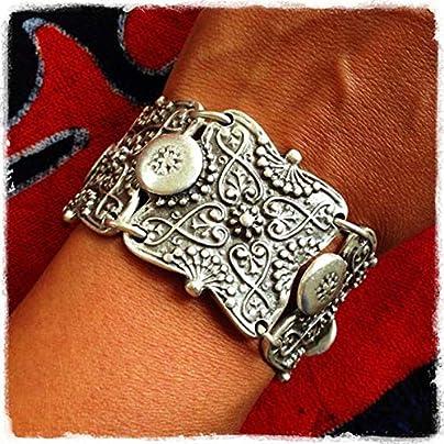 XIAOHA Men S Bracelet Punk Vintage Wide Cuff Bracelet Bohemian Ethnic Bracelet Coin Silver Color Wristband Bracelets For Women And Men Estimated Price £15.99 -